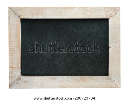 empty blackboard with wooden frame isolated over a white background / empty blackboard - stock photo