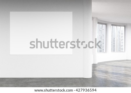 Empty blank banner on concrete wall in interior with Singapore city view. Mock up, 3D Rendering - stock photo