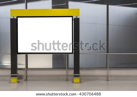 Empty blank billboard advertising at airport ,train station,in public commercial,ready for new advertisement,selective focus - stock photo