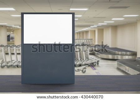 Empty blank billboard at airport ,train station, advertising public commercial,ready for new advertisement,selective focus - stock photo