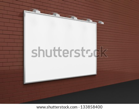 Empty Blank Billboard on Brick Wall - stock photo