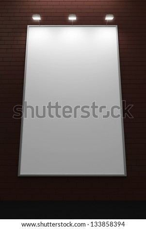 Empty Blank Billboard on Brick Wall at night - stock photo