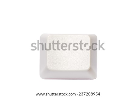 Empty blank computer keypad button isolated on white