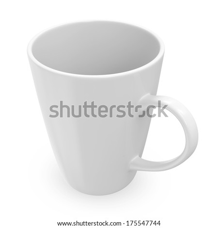 Empty Blank Cup isolated on white background - stock photo