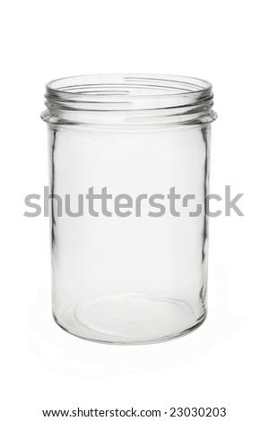 Empty blank glass jar isolated on white background