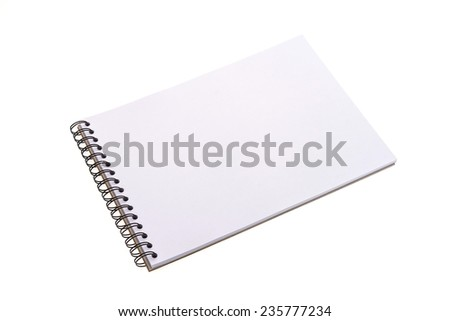 Empty blank note book isolated on white background