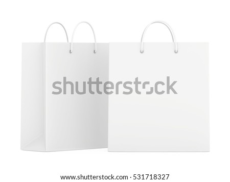 Empty blank paper bags set isolated on white background. 3d rendering
