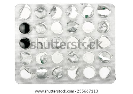 empty blister pack isolated on white - stock photo