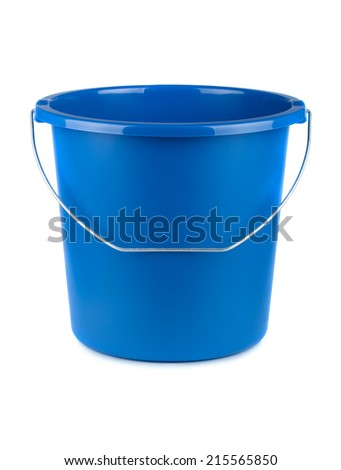 Empty blue bucket isolated on a white background - stock photo