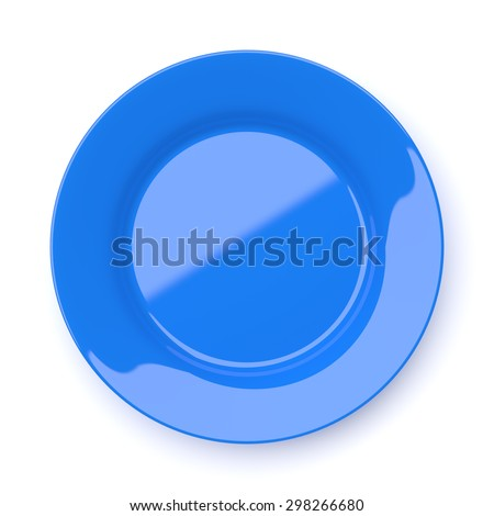 Empty blue ceramic round plate isolated on white background - stock photo