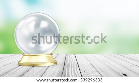 Empty Blue Crystal Ball with Golden Stand on White Wooden Table with Blurred Backgound Behind and place for Your Text. 3D Rendering