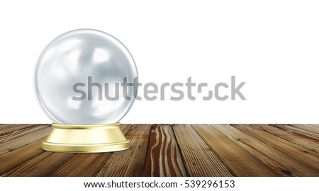 Empty Blue Crystal Ball with Golden Stand on Wooden Table isolated on white background. 3D Rendering
