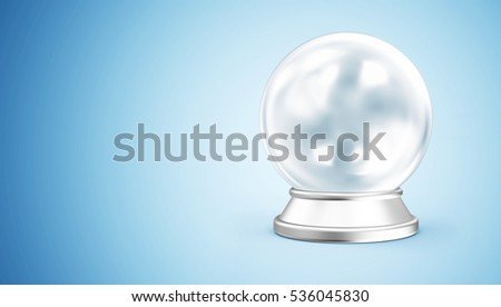 Empty Blue Crystal Ball with Silver Stand on gradient background with place for Your Text. 3D Rendering