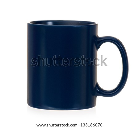 Empty blue cup, isolated on white background - stock photo