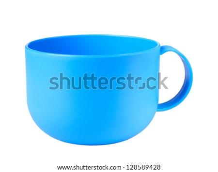 Empty blue mug isolated on the white - stock photo