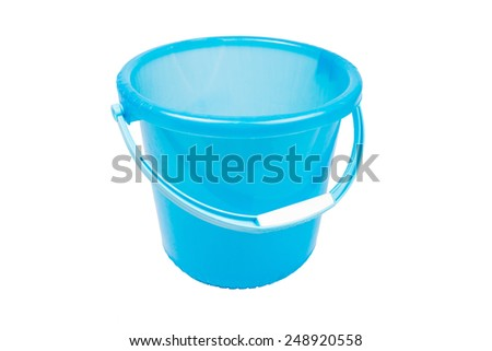 empty blue plastic household bucket on a white background.
