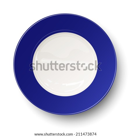 Empty blue plate isolated on white background. Raster version illustration. - stock photo
