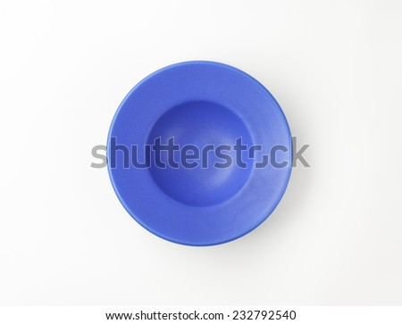 empty blue plate on white background