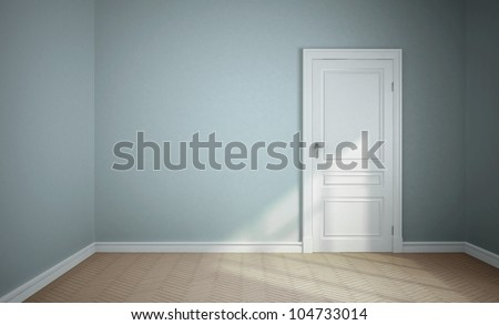empty blue room with white door - stock photo