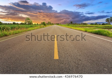 Empty blur asphalt road and sunlight and sign which symbol success. Concept for success. - stock photo
