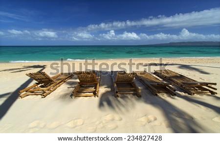 Empty Boracay island beach, Boracay, Philippines, February 2014 - stock photo