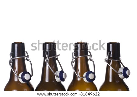 Empty bottle brown with a stopper - stock photo