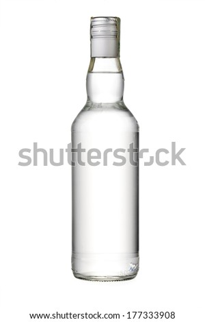 empty bottle of vodka or other alcohol - stock photo