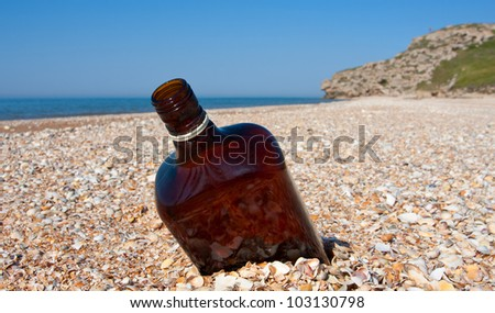 empty bottle on sea coast - stock photo