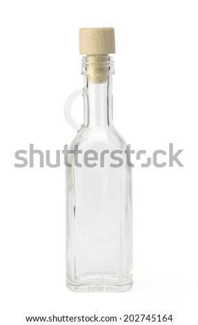Empty bottle with cork cap isolated on white background with clipping path