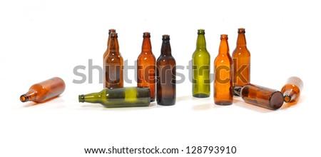 empty bottles of beer - stock photo