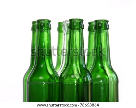 Empty bottles on a white background