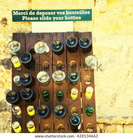 Empty bottles rack. Bordeaux, wine region of France.