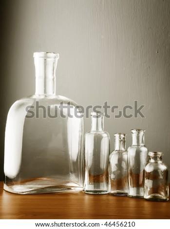 Empty bottles set - stock photo