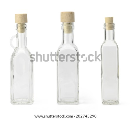 Empty bottles with cork cap isolated on white background - stock photo