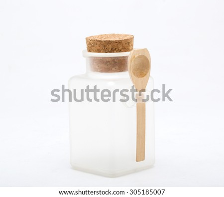 Empty bottles with cork stopper isolated on white