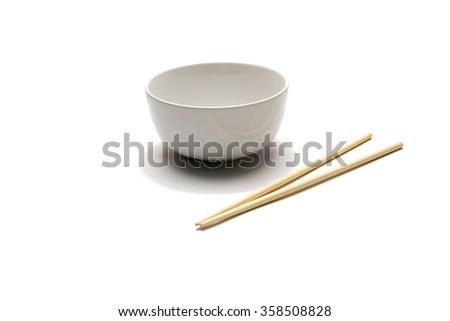 empty bowl and chopstick isolated on white background - stock photo