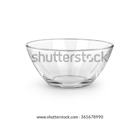 Empty bowl glass isolated on the white background. - stock photo