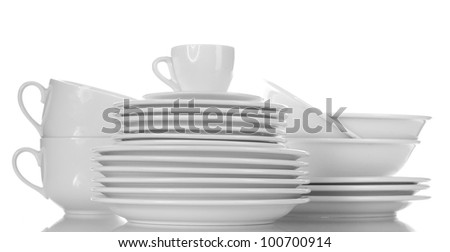 empty bowls, plates and cups isolated on white - stock photo