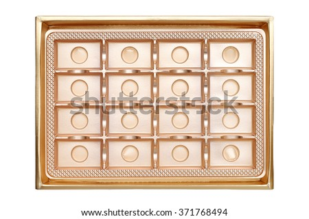 Empty box from sweets of gold color on white background - stock photo