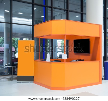 Empty box office and empty banner or ticket booth in airport