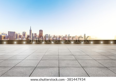 empty brick floor with cityscape of San Francisco in sunny day - stock photo