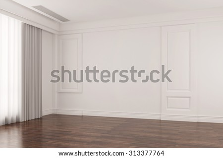 Empty bright room in old house with oak floor parquet (3D Rendering) - stock photo