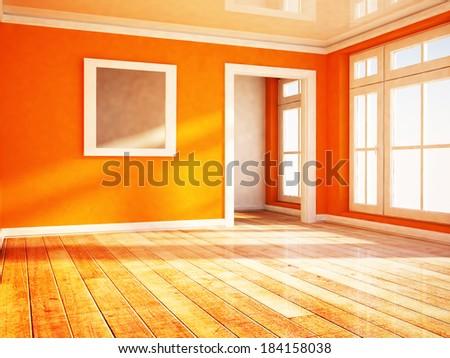 empty bright room with the window - stock photo
