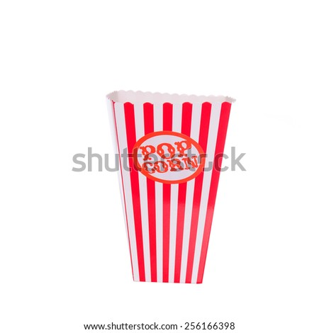 Empty brightly colored or coloured popcorn cartons  - stock photo