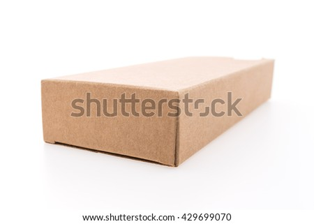 Empty brown box isolated on white background