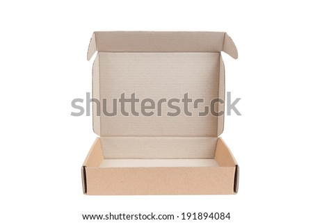 Empty brown cardboard paper box opened isolated on white background - stock photo