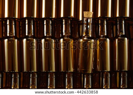 Empty brown glass bottles