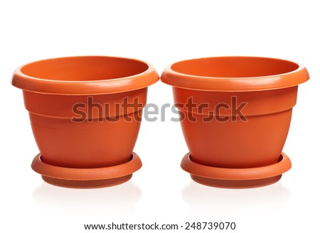 Empty brown houseplant pots isolated on white background - stock photo