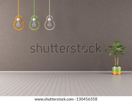 Empty brown living room with colorful lamp and plant - rendering - stock photo