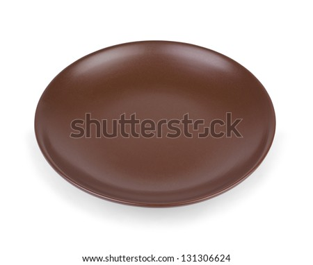 Empty brown plate isolated on white background. - stock photo